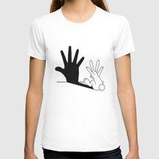 Rabbit Hand Shadow MEDIUM Womens Fitted Tee White