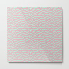 Modern Abstract Mint Blue Rosewater Pink Stripes Metal Print