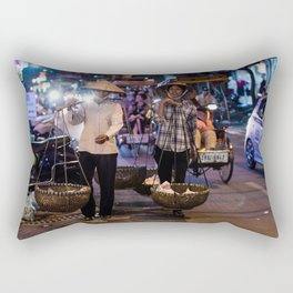 Women selling food in the streets of Hanoi Rectangular Pillow