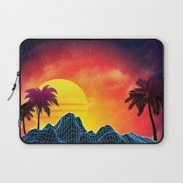 Sunset Vaporwave landscape with rocks and palms Laptop Sleeve