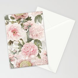 Vintage & Shabby Chic - Antique Pink Peony Flowers Garden Stationery Cards