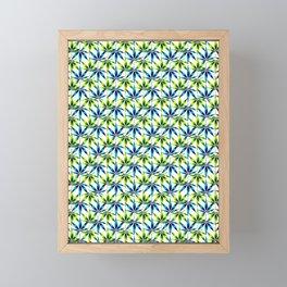 WEED LOVE, LIME GREEN BLUE Cannabis Smoke Marijuana Framed Mini Art Print