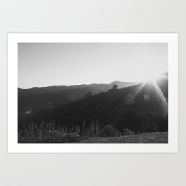 Black and White California Mountain Landscape Art Print