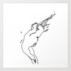 Needle and Thread - Black and White Drawing Art Print
