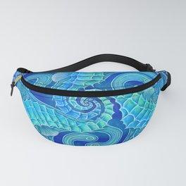 Seahorse Triskele Celtic Blue Spirals Mandala Fanny Pack