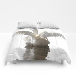 White Duck Flapping Wings on Water Vector Comforters