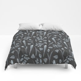 Modern botanical black gray watercolor floral Comforters