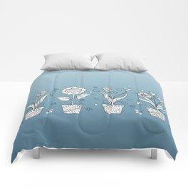 four zen pots with doodle flowers Comforters
