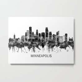 Minneapolis Minnesota Skyline BW Metal Print