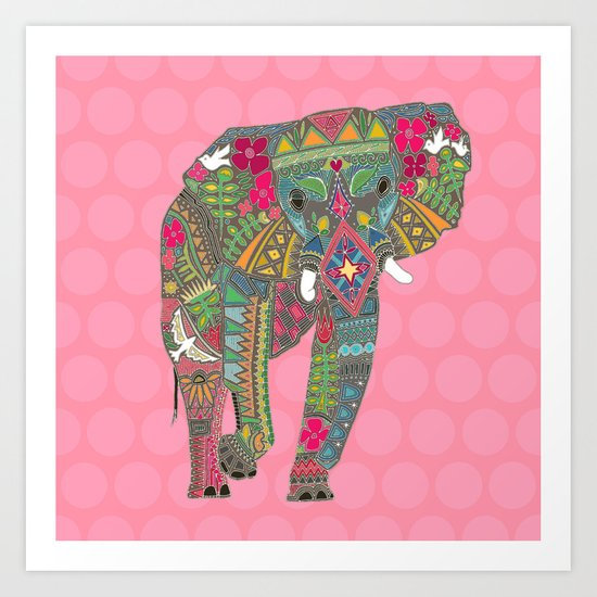 painted elephant pink Art Print
