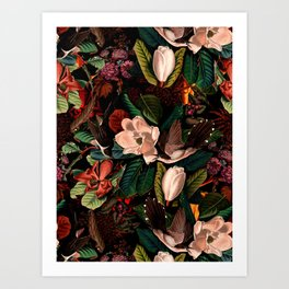 FLORAL AND BIRDS XIV Art Print