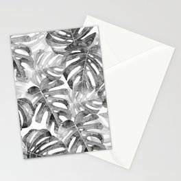 Black and white Monstera leaves Jungle leaves Palm leaves Tropical Stationery Cards