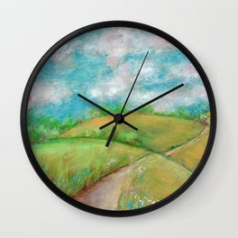 Landscape with road and clouds Wall Clock