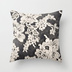 black and white lace- Photograph of vintage lace Throw Pillow