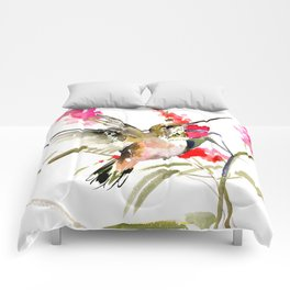 Hummingbird and Pink Flowers, sage green, olive green pink Comforters