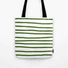 Simply Drawn Stripes in Jungle Green Tote Bag