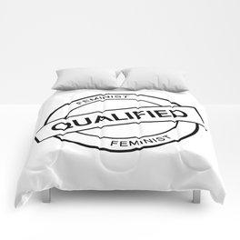 Qualified Feminist (black) Comforters