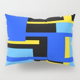 Rectangles - Blues, Yellow and Black Pillow Sham