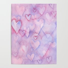 Pink Hearts Pattern Poster