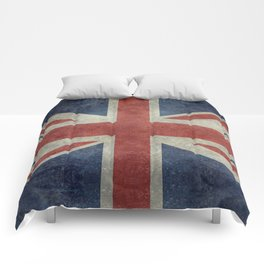 UK Flag, Dark grunge 1:2 scale Comforters