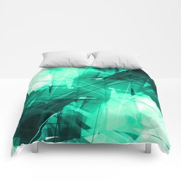 Mint Maze - Geometric Abstract Art Comforters
