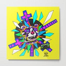 Radical Raccoon 80s Energetic Spirit Animal Pop Art Print Metal Print