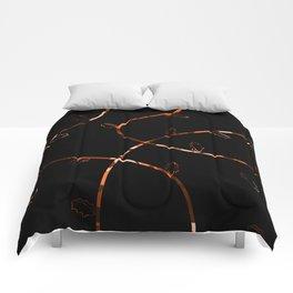Jagged leaves, orange Comforters