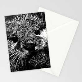 furry fish otter splatter watercolor black white Stationery Cards