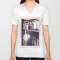 starbucks V-neck T-shirts featuring Starbucks by Art By JuJu