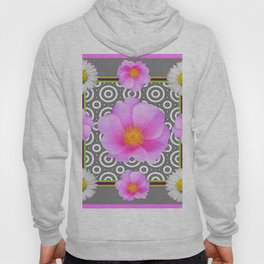 Modern Art Style Shasta Daisy Pink Roses  Grey color Abstract art Hoody