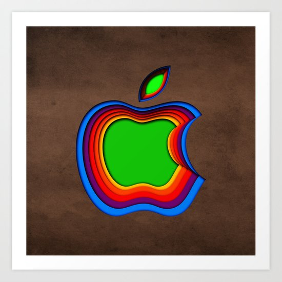Colourful Apple Art Print