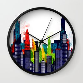 Colorful City Buildings And Skyscrapers In Watercolor, New York Skyline, Wall Art Poster Decor, NYC Wall Clock