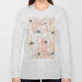 Watercolor Poppies Seamless Print Long Sleeve T-shirt