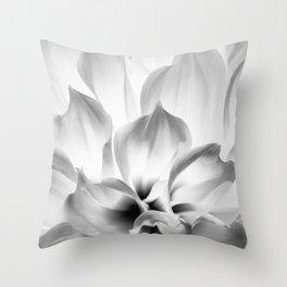 Dahlia in black and white Throw Pillow