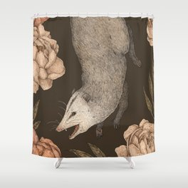 The Opossum and Peonies Shower Curtain