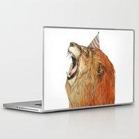 lion Laptop & iPad Skins featuring Birthday Lion by Sandra Dieckmann