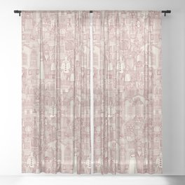 vintage halloween claret ivory Sheer Curtain