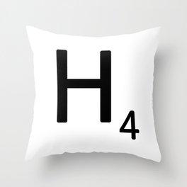 Letter H - Custom Scrabble Letter Tile Art - Scrabble H Throw Pillow