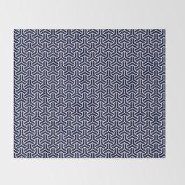 Japanese Yukata Jinbei Bishamon Navy pattern Throw Blanket