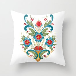 Nordic Rosemaling Throw Pillow