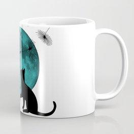 Turquoise Moon black Cat dandelions Coffee Mug