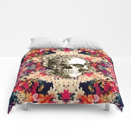 You are not here Day of the Dead Rose Skull. Comforters