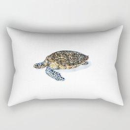 Hawksbill Turtle Watercolor Painting Rectangular Pillow