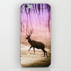 Deer in a foggy forest iPhone & iPod Skin