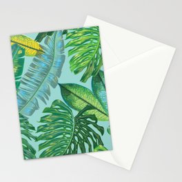 Monstera Pattern on Aqua Stationery Cards