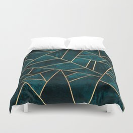 Deep Teal Stone Duvet Cover