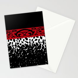 Animal Print Cheetah Black White Red Stationery Cards