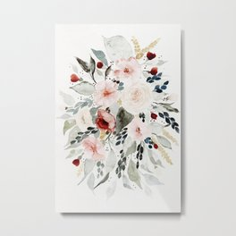 Loose Watercolor Bouquet Metal Print