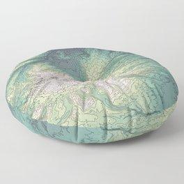 Mount Hood, Oregon Topographic Contour Map Floor Pillow