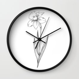 Daffodil Flower Line Art Wall Clock